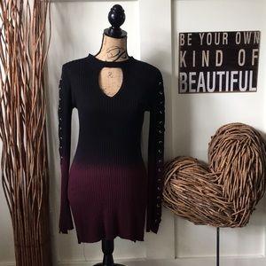 Rock & Republic Thorn and Petal wine/blk knit top